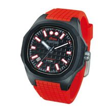 iTime Unisex Quartz with Black Dial Analogue Display and Red Silicone Strap PH4901-PHN3
