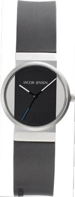 Jacob Jensen New Series Quartz with Black Dial Analogue Display and Black Rubber Strap 722