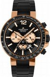 Jacques Lemans Liverpool 1-1768H 46mm Rose Gold Tone Case Silicone Mineral &
