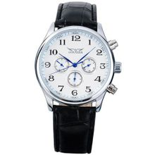 AMPM24 Mechanical Analog White Dial 6 Hands Sport Leather Wrist Gift PMW036