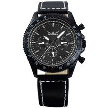 AMPM24 Mechanical Black Analog 6 Hands Date Day Sport Leather Wrist Gift PMW039