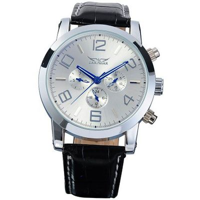 AMPM24 Mechanical Silver Blue 6 Hands Date Day Sport Leather Wrist Gift PMW042
