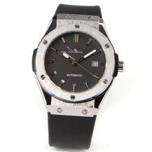 Black Calendar Silicone Strap Analogue Automatic Mechanical Wrist + Gift Box US Stock