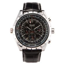 Boys Black Leather Strap Calendar Analogue Automatic Mechanical Wrist + Gift Box US Stock