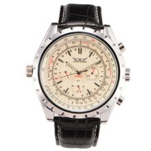 Boys Calendar Milk White Black Strap Automatic Mechanical Wrist US Stock + Gift Box