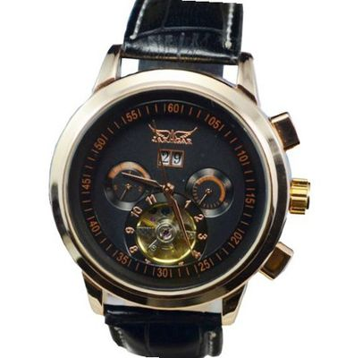 Jaragar Black Dial Tourbillon Chrongraph Stainless Steel Hand wind Mechanical