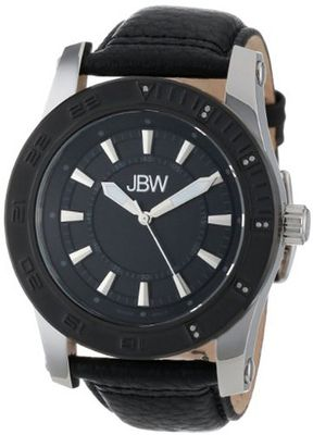 JBW J6273D Gun Metal-Plated Stainless Steel 11 Diamond Leather