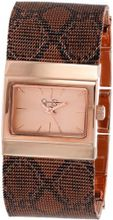 Jessica Simpson JS001C Square Case Analog Mesh Snake Print Band