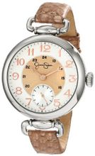Jessica Simpson JS014D Round Case Analog Leather Strap and Multi-Layer Dial