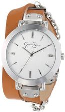 Jessica Simpson JS020H Tan Silver Round Case Analog Double Wrap Strap and Hanging Chain
