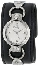 Jessica Simpson JS027B Round Integrated Case Analog Leather Cuff