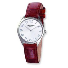 Ladies Charles Hubert Leathr Band Silver White Dial Super Slim