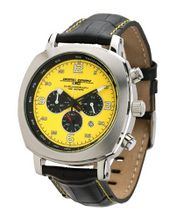 Jorg Gray 3500 Chronograph - Yellow Layered Dial with Black Leather - Date