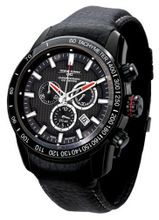 Jorg Gray 3700 Chrono PVD 45mm - Black Dial, Black Leather Strap JG3700-31