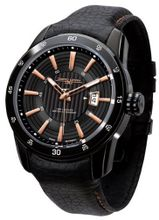 Jorg Gray 3700 Circle and Stripe PVD 45mm - Black/Rose Gold Dial, Black Leather Strap JG3700-12