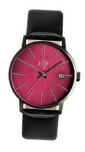 Joy Quartz with Red Dial Analogue Display and Black Leather Strap JW634