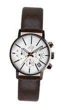 Joy Quartz with Silver Dial Chronograph Display and Brown Leather Strap JW631
