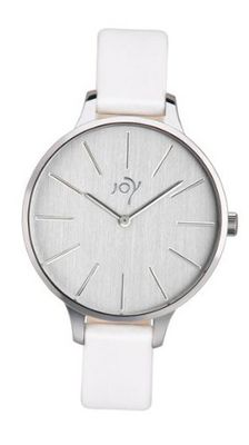 Joy Quartz with White Dial Analogue Display and White Leather Strap JW622