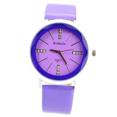 WOMAGE Graceful with Round Dial/PU Leather Band/Rhinestone Scale/Stainless Steel Back -Purple
