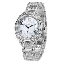 Judith Ripka - Sterling and Stainless Steel Sub-dial Bracelet - Swiss Part Mvt - L-size