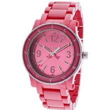 Juicy Couture 1900804 HRH Hot Pink Acrylic Bracelet and hot Pink Case and Dial