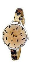 Julius JA-254B Light Brown Round Dial Analog Woman Wrist With Tiger Dotted Band