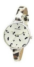 Julius JA-254C White Round Dial Analog Woman Wrist With Tiger Dotted Band