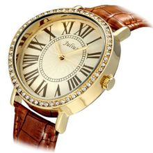 Julius JA-383D Yellow round Dial Brown Leather Band Analog Woman Wrist