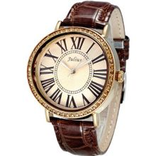 Julius JA-383E Reddish Brown or Copper Color round Dial Brown Leather Band Analog Woman Wrist