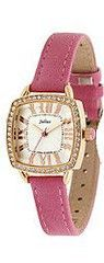 Julius JA-630D Light Yellow Square Curved Dial Pink Leather Band Analog  Wrist