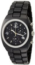 K&BROS 9141-1 C-901 Full Ceramic Stones Square Chronograph Black