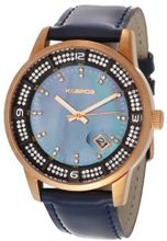 K&BROS 9145-3 Steel Moon Rose Gold-plated Shiny Leather Strap