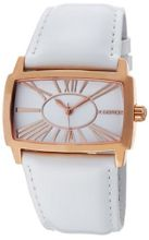 K&BROS 9147-4 Steel Roman Shiny Leather Strap Rose Gold-tone