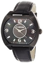 K&BROS 9160-1 Steel Luna Black Ion-Plated Leather Strap