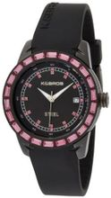 K&BROS 9165-1 Steel Pink Accent and Black Silicon Band
