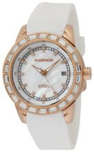 K&BROS 9165-3 Steel Rose Gold-tone and White Silicon Band