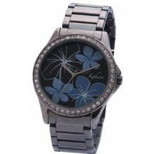 Kahuna Flower Design Gun Metal Bracelet Strap Ladies Fashion AKLB-0013L