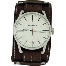 Kahuna Gents Analogue Wide Brown Leather Effect Cuff Strap AKUC-0050G