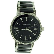 Karen Millen Ladies Stone Set Bezel & Dial Stainless Steel & Ceramic K118