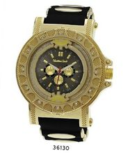 TRENDY FASHION Black/Gold Bullet Band Silicon Strap , Hip-Hop Gold Case, Black Dial BY FASHION DESTINATION