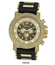 TRENDY FASHION Black/Gold Bullet Band Silicon Strap , Hip-Hop Gold Case, Gun Dial BY FASHION DESTINATION