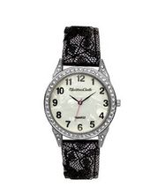 TRENDY FASHION Black Laced Leather Band , Black Case, Pearl Dial BY FASHION DESTINATION