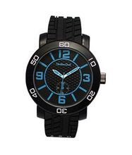 TRENDY FASHION Black Rubber Strap , Black Case/Black Dial, Blue Numerals 34285 BY FASHION DESTINATION