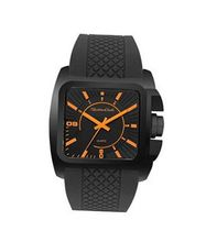TRENDY FASHION Black Rubber Strap , Black Case/Black Dial, Orange Numerals 34287 BY FASHION DESTINATION