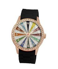 TRENDY FASHION Black Silicon Strap , Rose Gold Case, Rainbow Glitter Dial BY FASHION DESTINATION