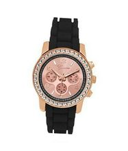 TRENDY FASHION Black Silicon Strap , Rose Gold Stone Case/Rose Gold Dial BY FASHION DESTINATION