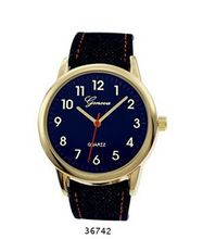TRENDY FASHION Blue Denim Leather Band , Gold Case, Blue Dial BY FASHION DESTINATION