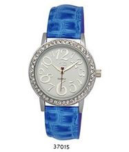 TRENDY FASHION Blue Faux Leather Strap , Silver Case, White Dial BY FASHION DESTINATION