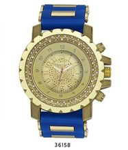 TRENDY FASHION Blue/Gold Bullet Band Silicon Strap , Gold Case, Gold Dial BY FASHION DESTINATION