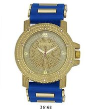 TRENDY FASHION Blue/Gold Bullet Band Silicon Strap , Hip-Hop Gold Case, Gold Dial BY FASHION DESTINATION